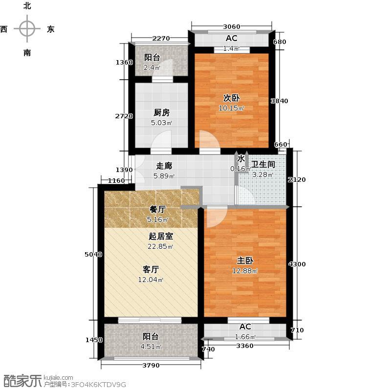 假日景苑80.00㎡二房二厅一卫-80-90平方米-195套户型