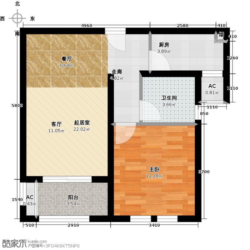 万科阳光苑60.00㎡房型: 一房; 面积段: 60 -70 平方米; 户型