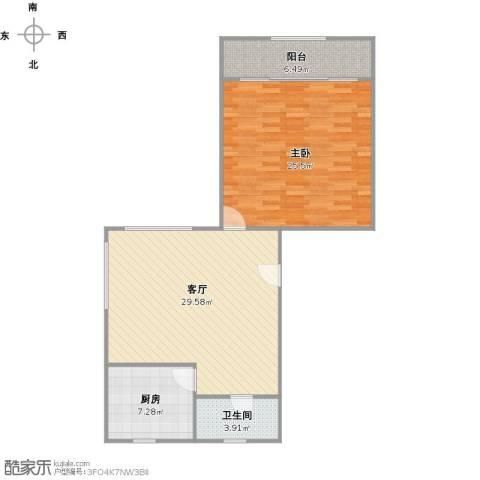 浦江世博家园六街坊1室1厅1卫1厨97.00㎡户型图