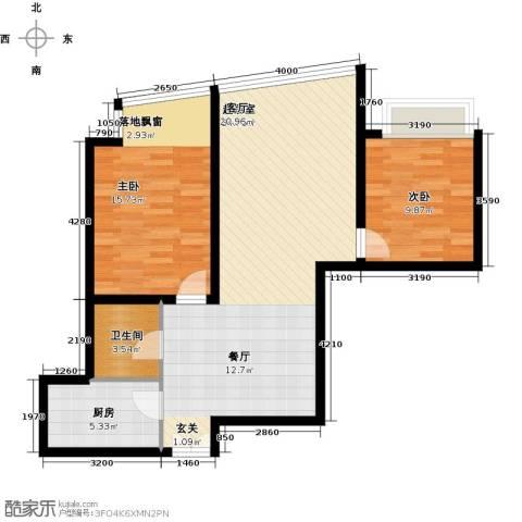 利君明天二期2室0厅1卫1厨78.00㎡户型图