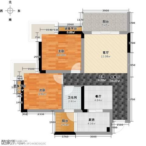 达飞・彩云小城2室1厅1卫1厨62.98㎡户型图
