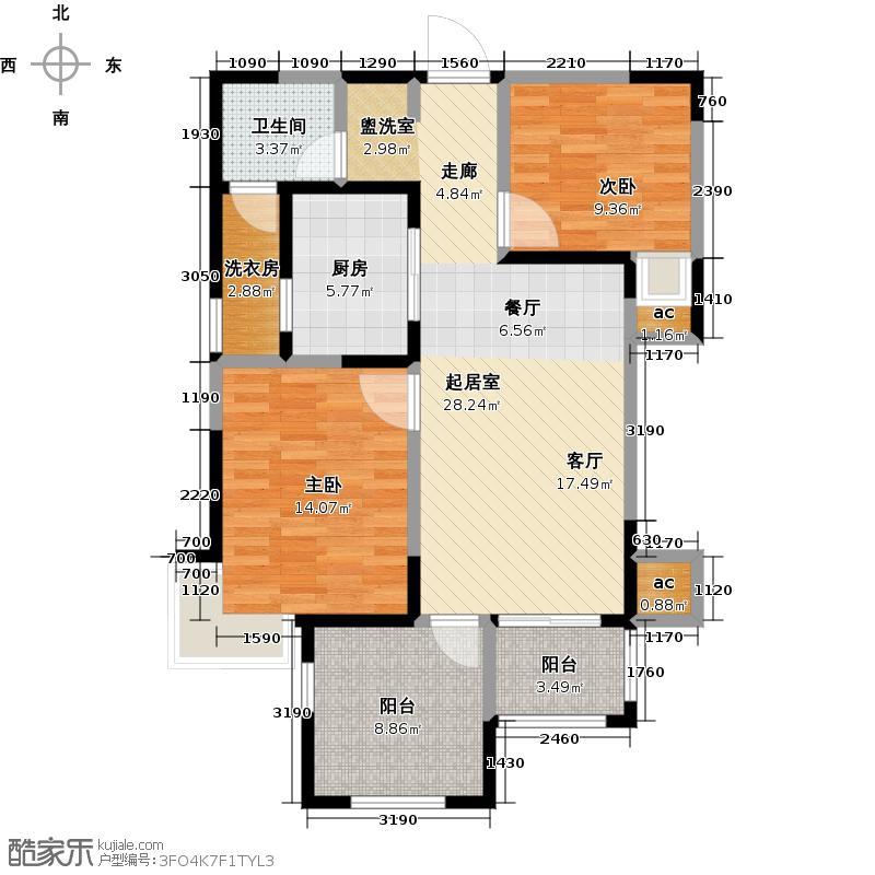 德润黄金海岸90.90㎡3K'户型2室2厅1卫