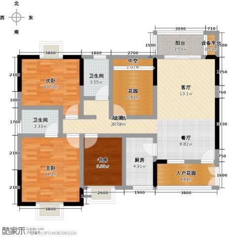 橄榄君庭3室0厅2卫1厨116.00㎡户型图