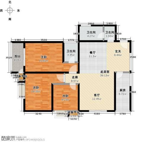 合泰花园(金仕雅筑)3室0厅3卫1厨136.00㎡户型图