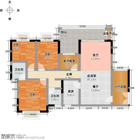 橄榄君庭3室0厅2卫1厨127.00㎡户型图