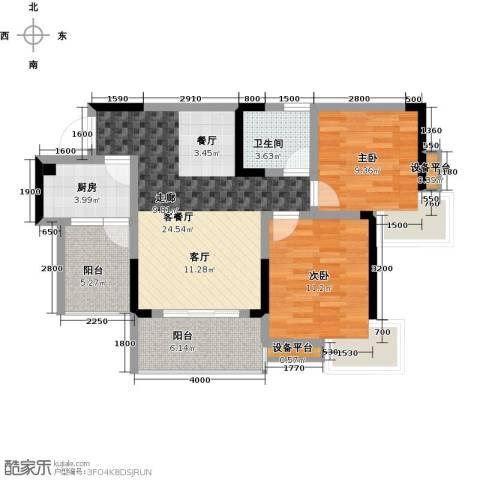 达飞・彩云小城2室1厅1卫1厨65.39㎡户型图