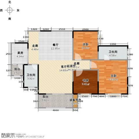 渝洲新城(三期)3室0厅2卫1厨92.00㎡户型图