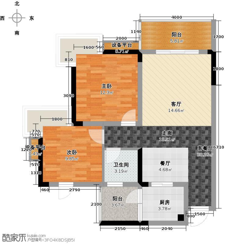 达飞・彩云小城55.40㎡房型: 二房; 面积段: 55.4 -73.42 平方米;户型