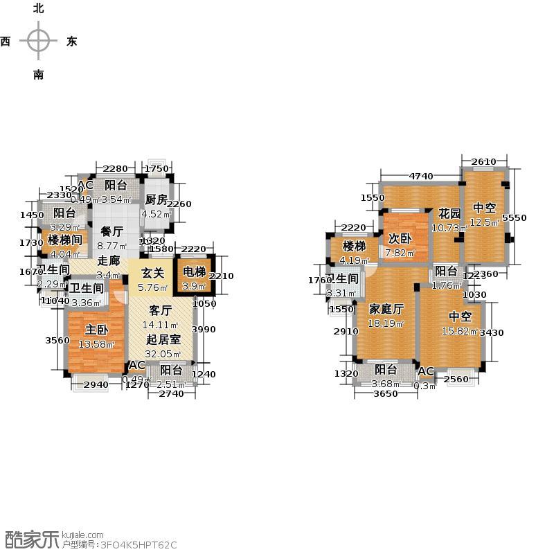 和泓四季一期洋房13栋A型6F标准层户型2室3卫1厨