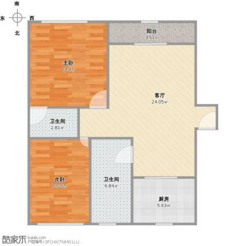 君临天下花园公寓2室1厅2卫1厨89.00㎡户型图