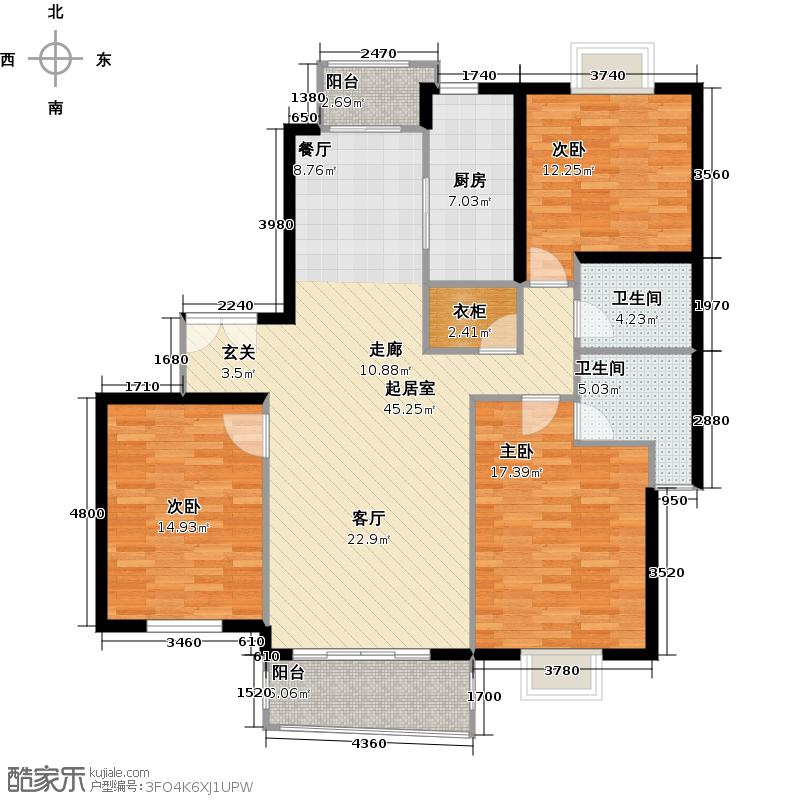 新会苑130.00㎡房型: 三房; 面积段: 130 -140 平方米; 户型