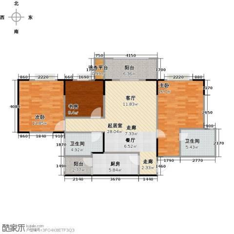 渝洲新城(三期)3室0厅2卫1厨93.30㎡户型图