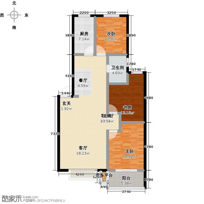 顺平盛世华庭118.18㎡三室两厅一卫户型3室2厅1卫