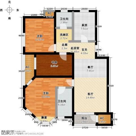 顶秀美泉小镇3室0厅2卫1厨114.00㎡户型图