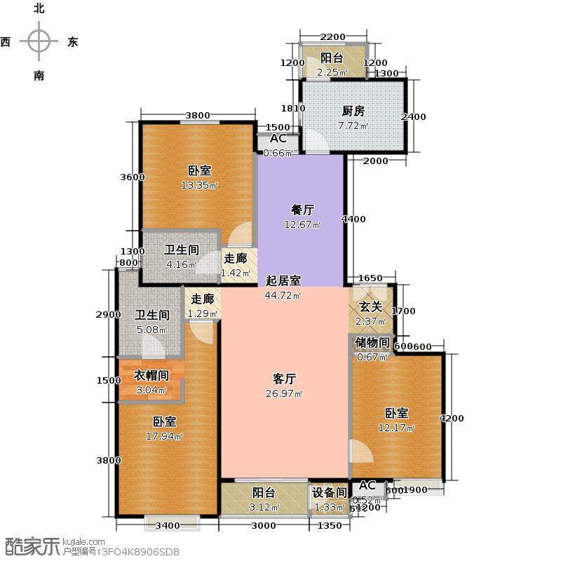 梧桐道II156.00㎡三室二厅二卫户型