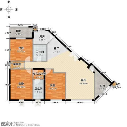 映天朗(五号公馆)3室1厅2卫1厨144.00㎡户型图