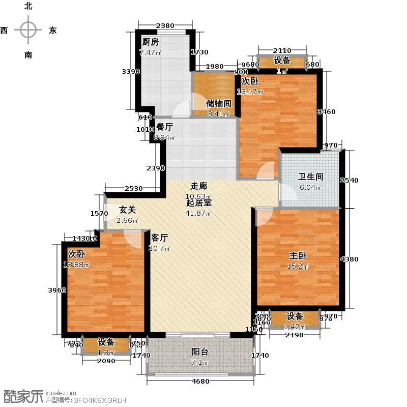 上海春之声110.00㎡房型: 三房; 面积段: 110 -120 平方米;户型