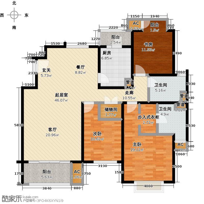 御上海荣御景苑三房二厅二卫面积约132平方米户型LL