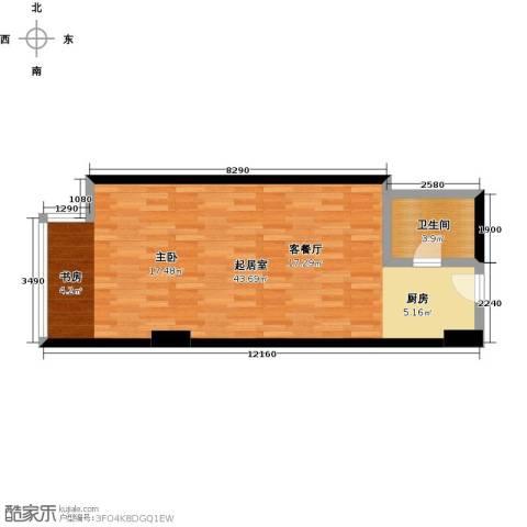 中海龙港(BOBO国际)1卫0厨49.00㎡户型图