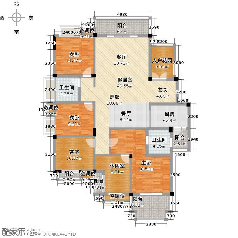 联发旭景166.00㎡55# YF5户型5室2厅2卫