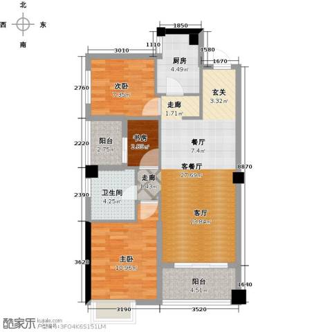 招商・假日3653室1厅1卫1厨94.00㎡户型图