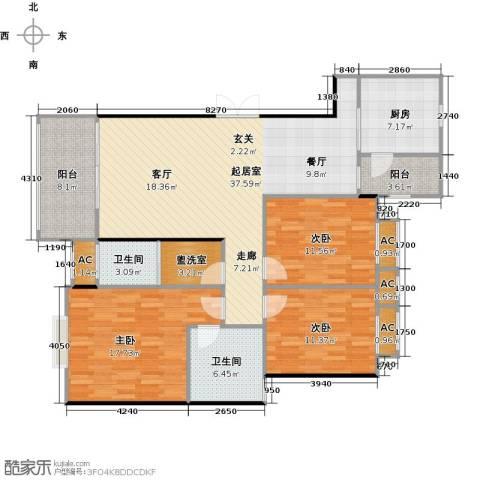 长房东郡(二期)3室0厅2卫1厨124.00㎡户型图