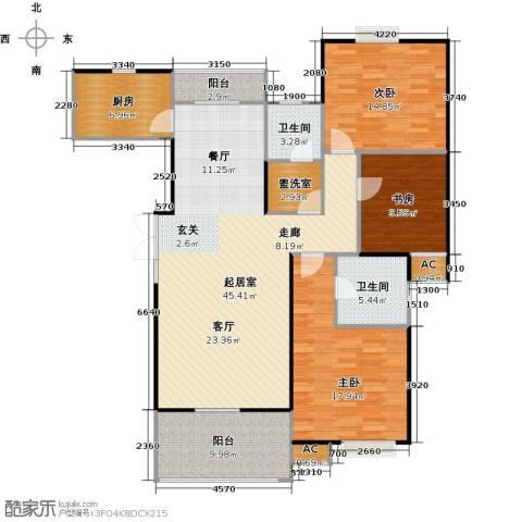 世嘉国际华城二期3室0厅2卫1厨162.00㎡户型图