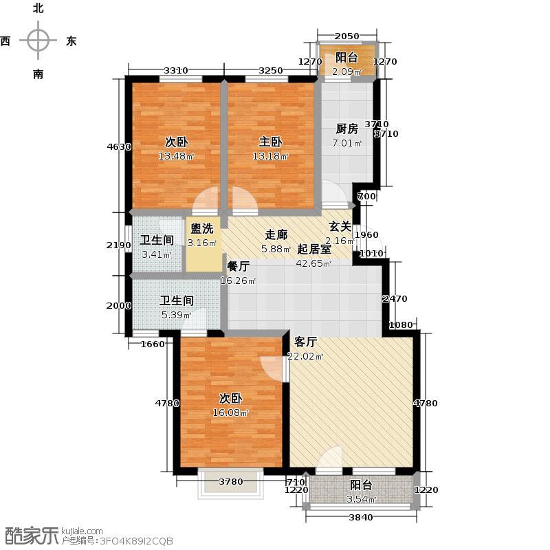 郦湖北岸121.83㎡120A户型三室两厅两卫户型3室2厅2卫