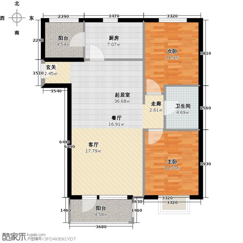郦湖北岸89.91㎡90F户型两室两厅一卫户型2室2厅1卫