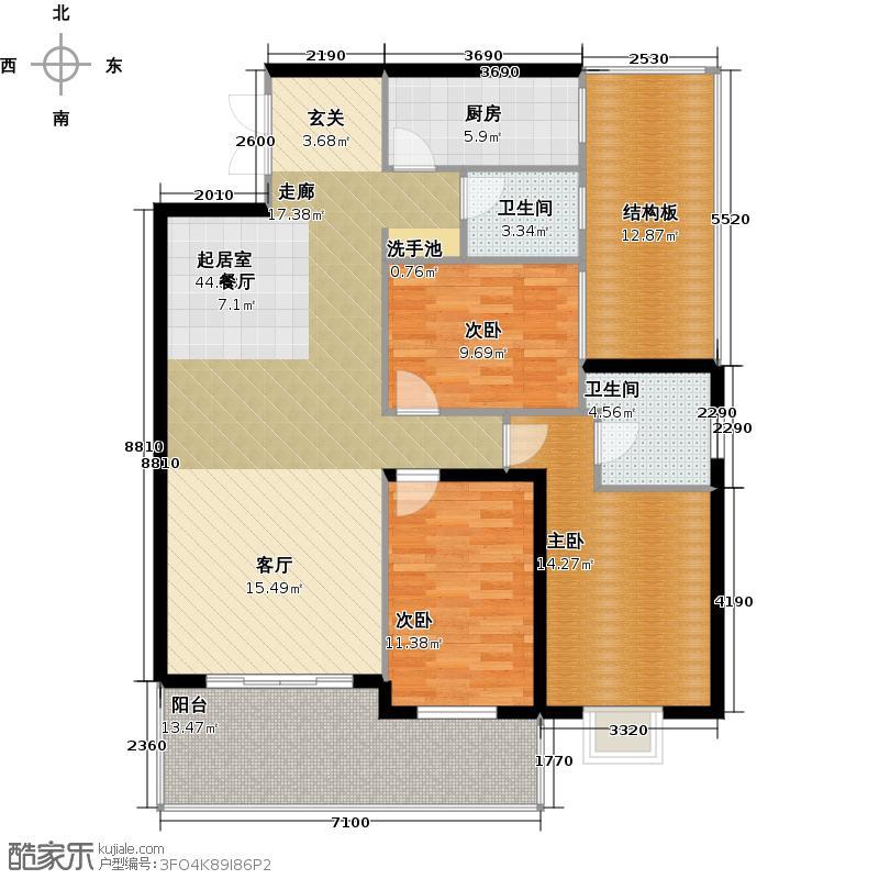 海南国贸城市花园131.39㎡0205户型 三房两厅两卫户型3室2厅2卫