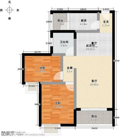 中华坊2室0厅1卫1厨65.00㎡户型图