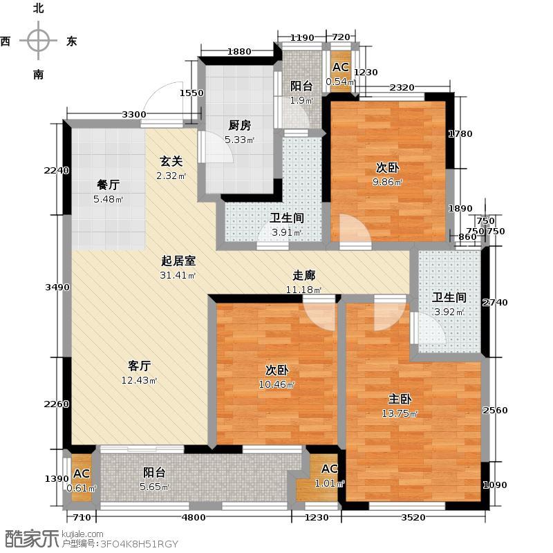 三一街区12号栋CLL户型3室2卫1厨