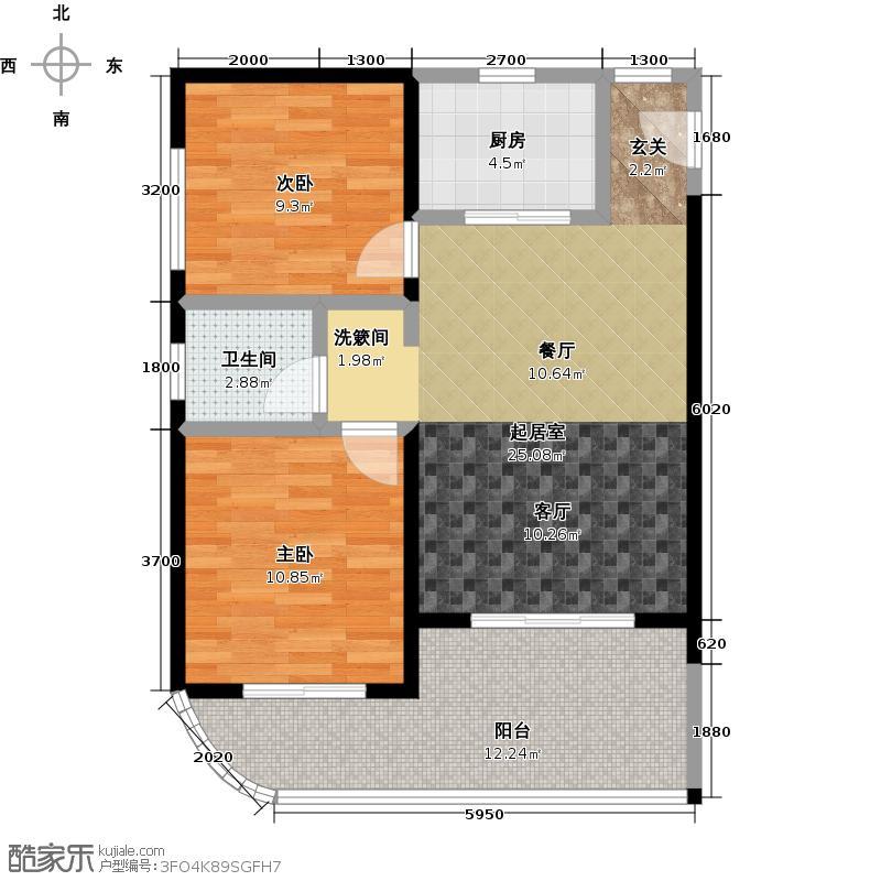 海域阳光82.45㎡两房两厅一卫户型2室2厅1卫