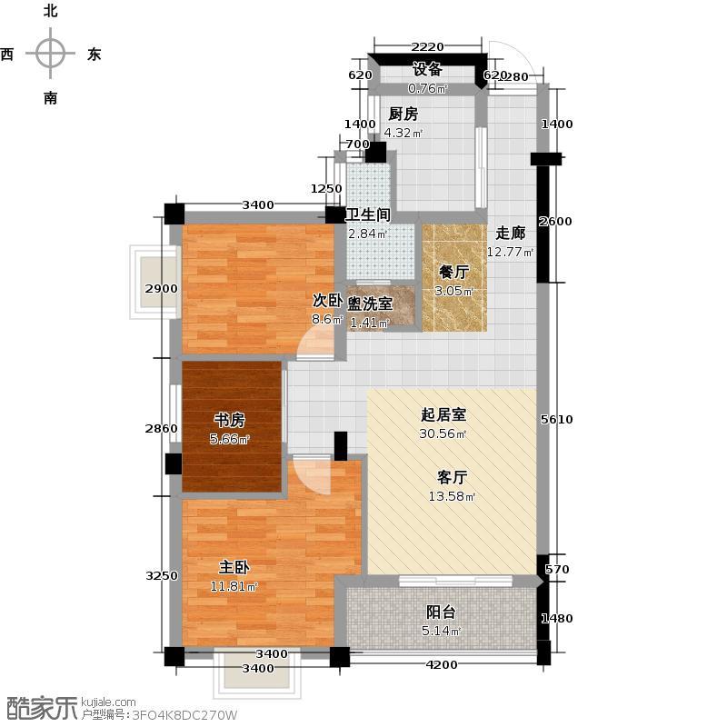 西寓麓山枫88.05㎡3室2厅1卫