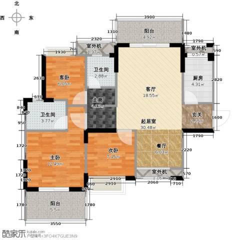 仁文大儒世家绿园3室0厅2卫1厨114.00㎡户型图