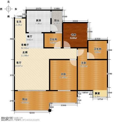 龙乡苑铜新花园3室1厅2卫1厨108.00㎡户型图