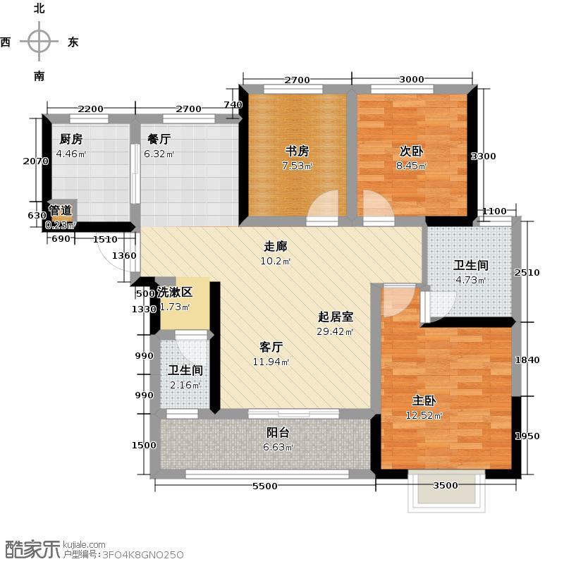 万芙锦城99.80㎡7-B户型 三房两厅两卫户型3室2厅2卫