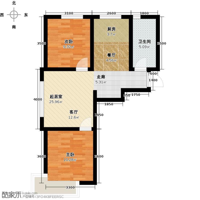 金地美林户型2室1卫