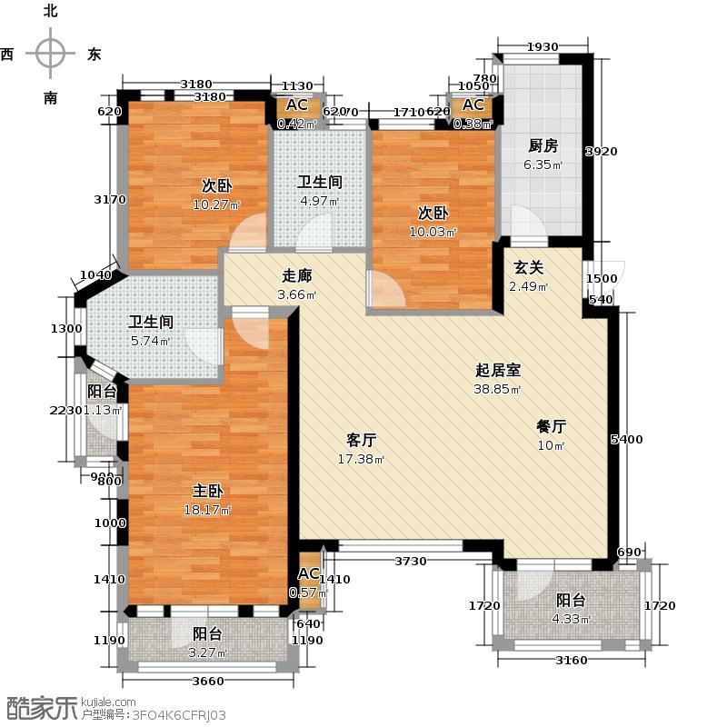 阳光尚城四期三室二厅二卫面积53-183平米户型QQ