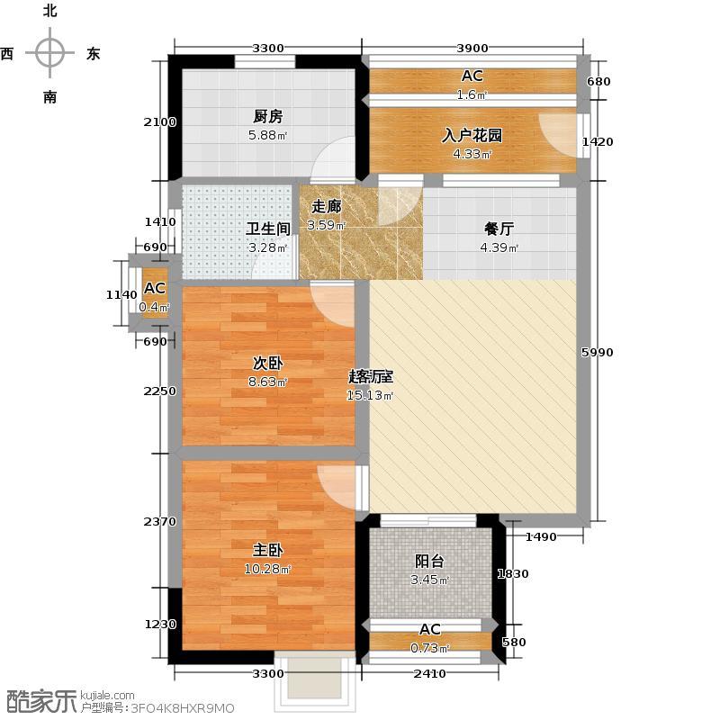 望兴嘉年华79.75㎡A1户型 两房两厅一卫户型2室2厅1卫
