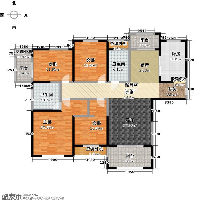 濮阳建业桂园户型4室2卫1厨