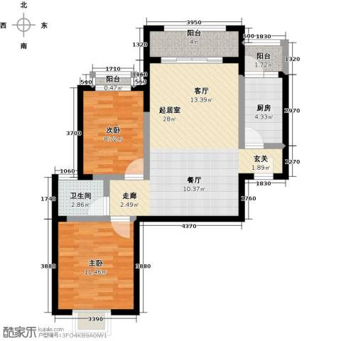 中华坊2室0厅1卫1厨67.00㎡户型图
