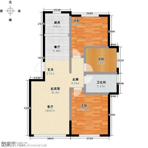 兆嘉・自由向3室0厅1卫1厨87.00㎡户型图
