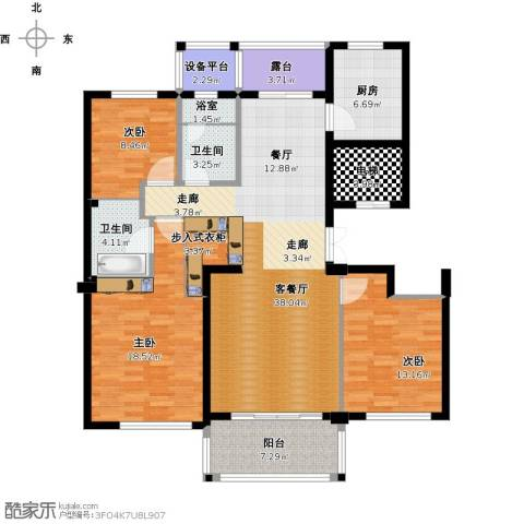 曙光之城3室1厅2卫1厨163.00㎡户型图