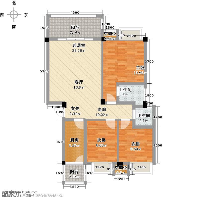 联发旭景94.96㎡39#C户型3室2厅2卫