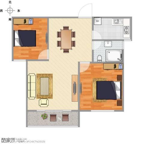 聚怡花园幸福小城2室1厅1卫1厨81.00㎡户型图