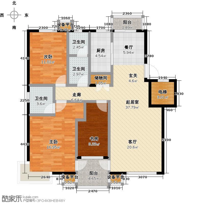 西山阳光水岸一期115.51㎡三室二厅二卫户型