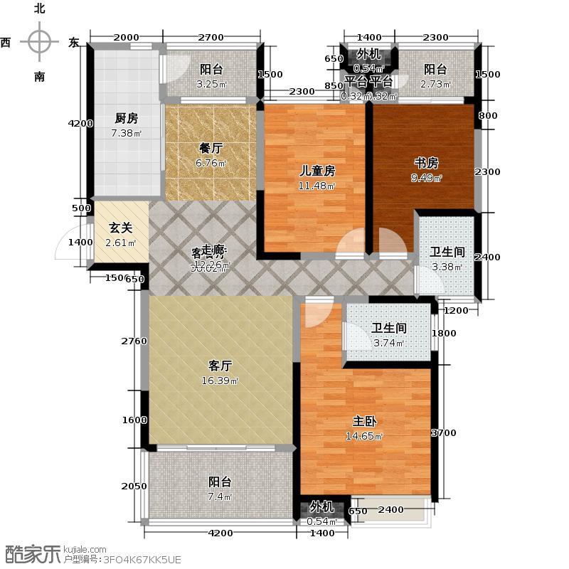 阳光100国际新城124.00㎡B3 三室两厅两卫户型3室2厅2卫