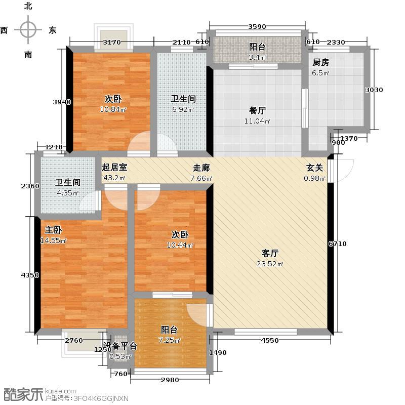 百步亭花园(百步华庭南区)112.00㎡房型: 三房; 面积段: 112 -136 平方米;户型