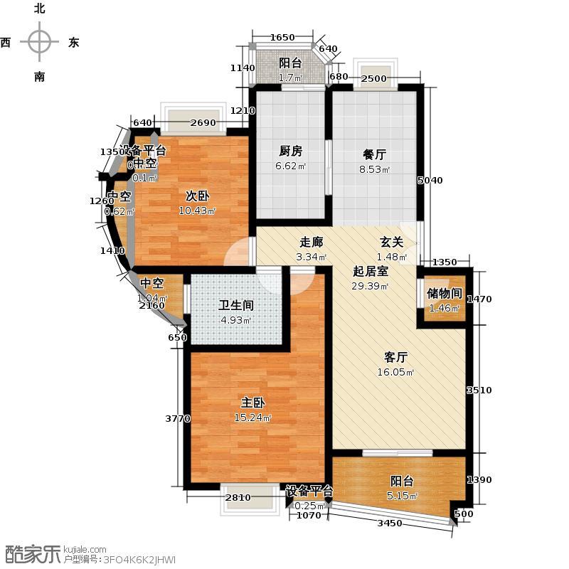 汇丽苑五期90.00㎡房型: 二房; 面积段: 90 -100 平方米;户型